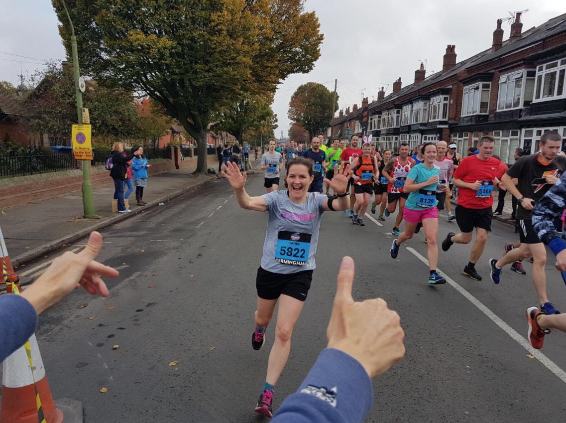 Naomi runs the Birmingham Marathon for Anawim